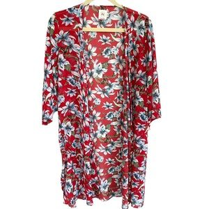 Red and blue floral kimono